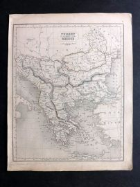 Chambers 1846 Antique Map. Turkey in Europe and Greece